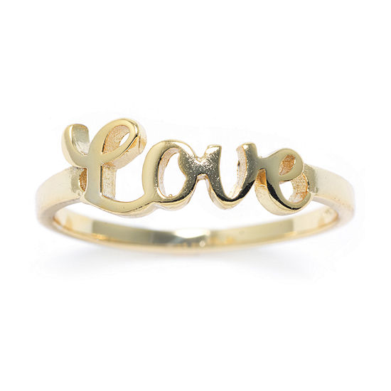 Silver Treasures 14K Gold Over Silver Love Ring