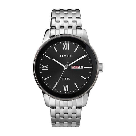 Timex Mens Silver Tone Stainless Steel Bracelet Watch - Tw2t50300ji