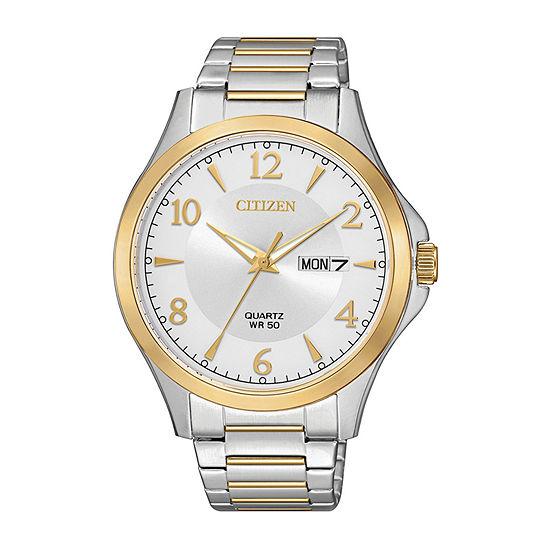 Citizen Quartz Mens Two Tone Stainless Steel Bracelet Watch-Bf2005-54a