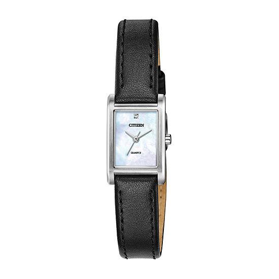 Citizen Quartz Womens Crystal Accent Black Leather Strap Watch-Ej6121-01d