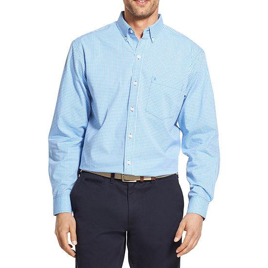 IZOD Mens Long Sleeve Plaid Button-Front Shirt