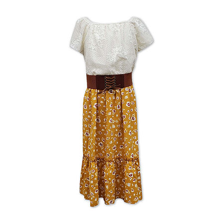 60s 70s Kids Costumes & Clothing Girls & Boys Speechless Big Girls Belted Short Cap Sleeve Fit  Flare Dress 10  Yellow $17.39 AT vintagedancer.com