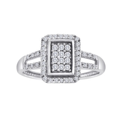 1/3 CT. T.W. Diamond 10K White Gold Rectangular Ring