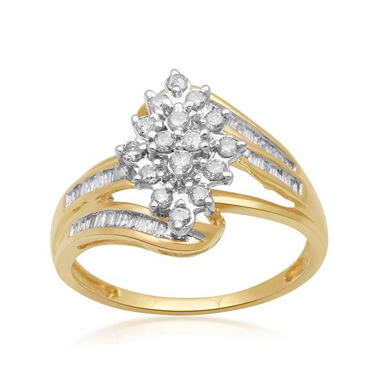 1/2 CT. T.W. Diamond 10K Yellow Gold Cluster Ring