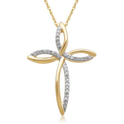 1/10 CT. T.W. Diamond 10K Yellow Gold Cross Pendant Necklace