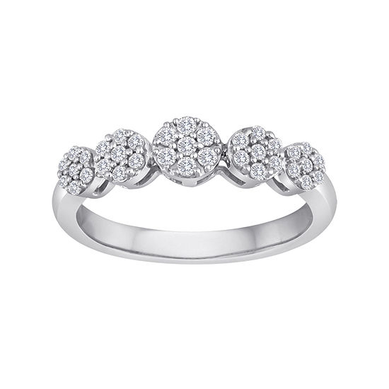 diamond blossom 1/4 CT. T.W. Diamond Cluster Sterling Silver Ring