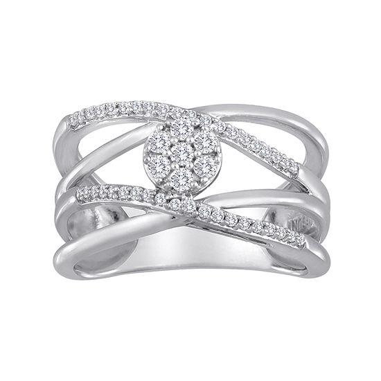 diamond blossom 1/4 CT. T.W. Diamond Cluster Orbit Sterling Silver Ring