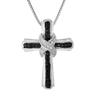 1/10 CT. T.W. White and Color-Enhanced Black Diamond Cross Pendant Necklace