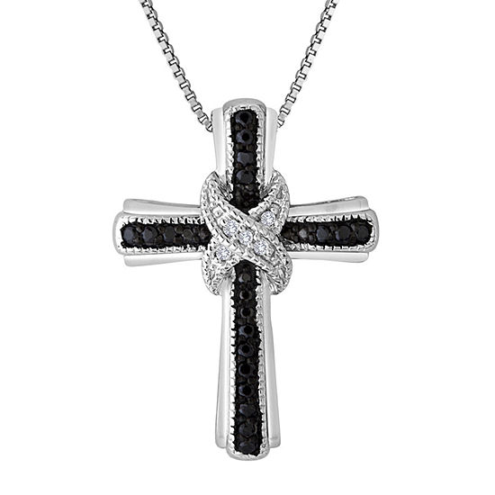 1 10 Ct Tw White And Color Enhanced Black Diamond Cross Pendant Necklace