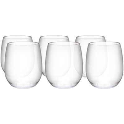 Zak Designs® Trinity Set of 6 Tritan Stemless White Wine Glasses