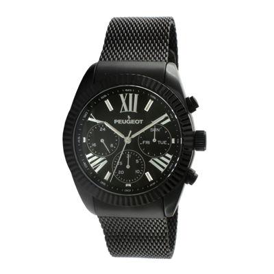 Peugeot® Mens Black Stainless Steel Mesh Strap Watch 1045BK