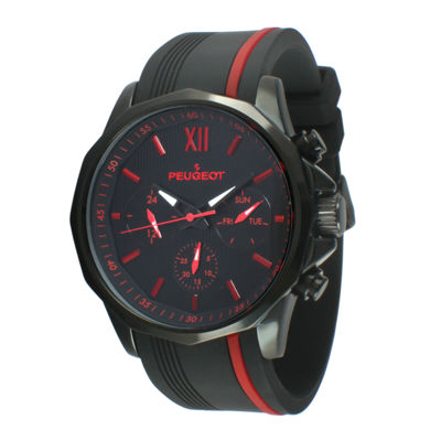 Peugeot® Mens Black and Red Silicone Strap Sport Watch 2046BRD