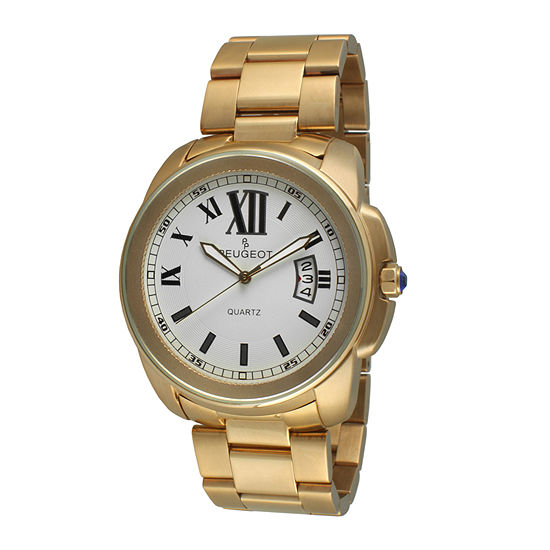 Peugeot® Mens Gold-Tone Stainless Steel Bracelet Watch 1047G
