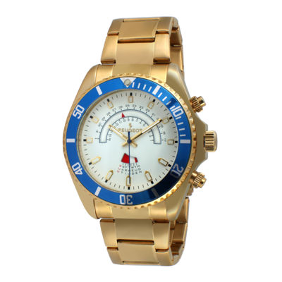 Peugeot® Mens Gold-Tone Circular Bracelet Watch 1048G