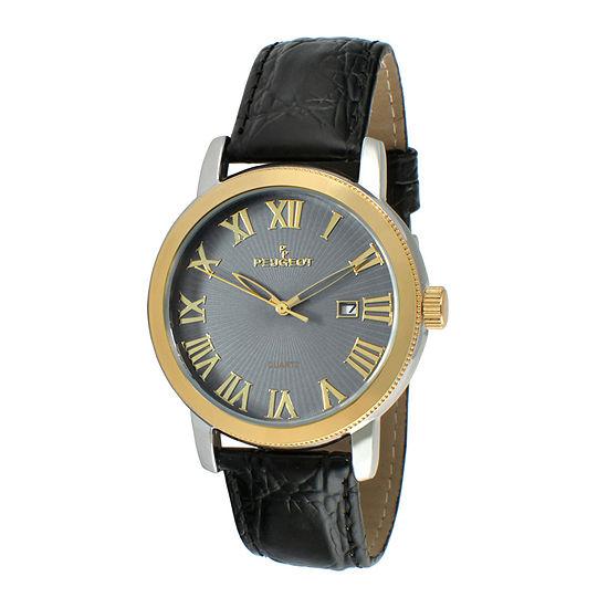 Peugeot® Mens Black Leather Strap Watch 2040GBK