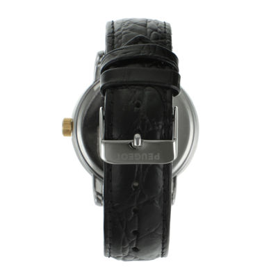Peugeot® Mens Black Leather Strap Watch 2040GBK