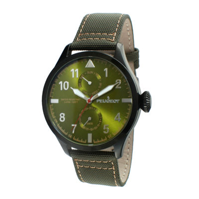 Peugeot® Mens Green Strap Aviator Watch 2044BGR