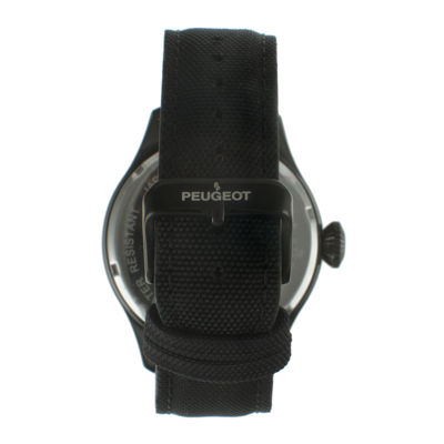 Peugeot® Mens Black Strap Aviator Watch 2044BK