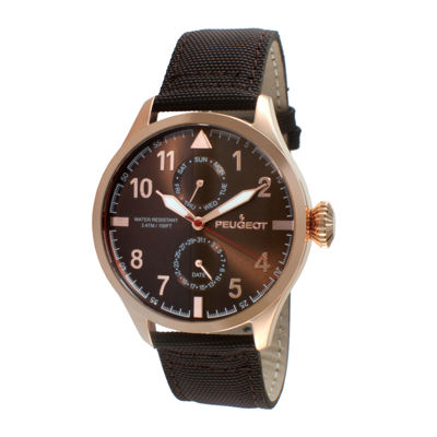 Peugeot® Mens Rose-Tone Aviator Watch 2044RBR