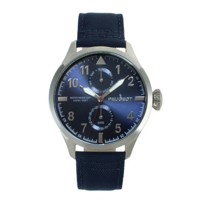 Peugeot® Mens Blue Strap Aviator Watch 2044SBL