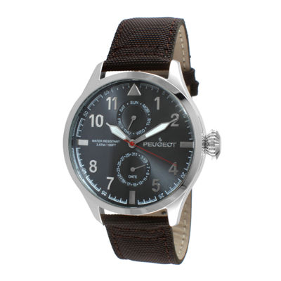 Peugeot® Mens Brown Strap Aviator Watch 2044SBR