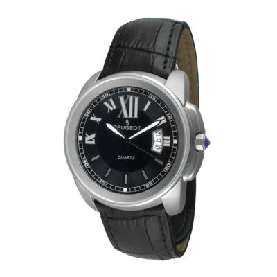 Peugeot® Mens Silver-Tone Black Leather Strap Watch 2045SBK