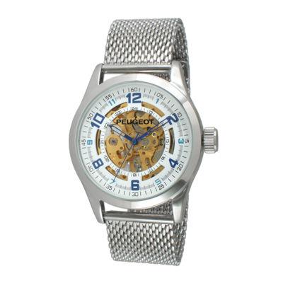 Peugeot® Mens Stainless Steel Skeleton Watch 1050S