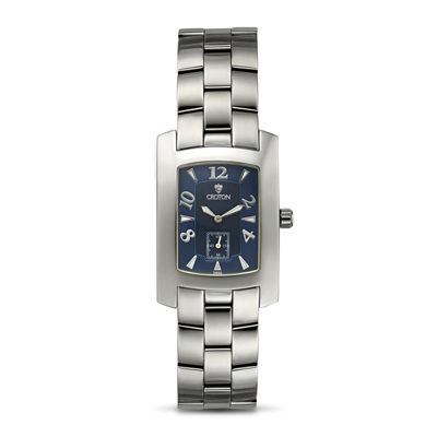 Croton Mens Blue Dial Stainless Steel Tonneau Watch