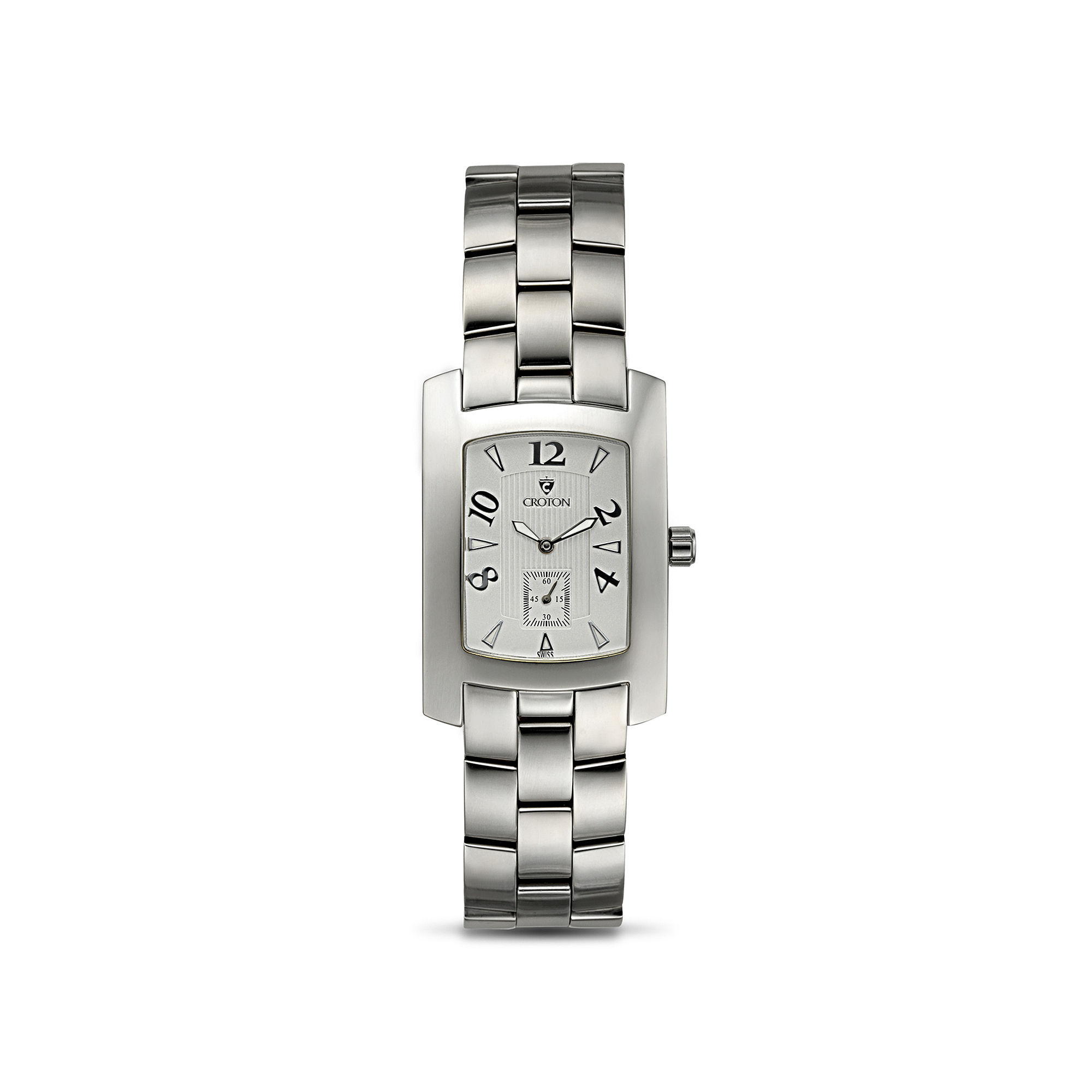 Croton Mens White Dial Stainless Steel Tonneau Watch