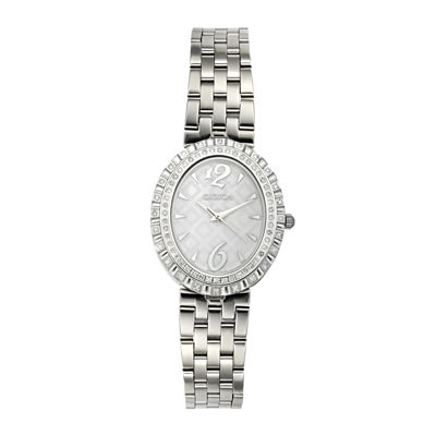 Croton Womens Diamond-Accent Stainless Steel Oval Bracelet Watch