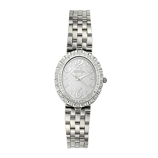 Croton Womens Diamond Accent Stainless Steel Oval Bracelet Watch