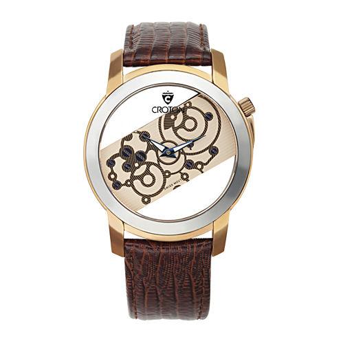 Croton Rhonda Mens Tungsten Bezel Lizard-Look Brown Leather Strap Watch