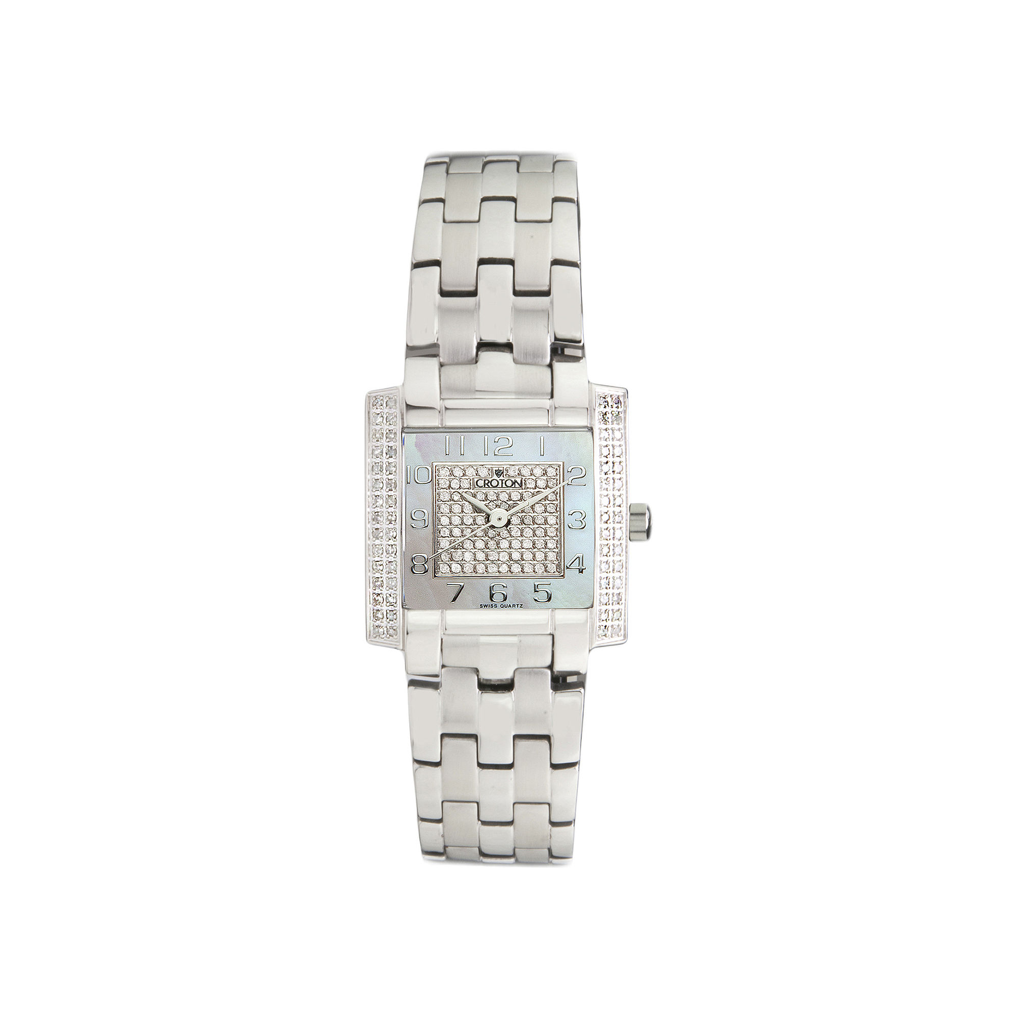 Croton Womens Diamond-Accent Stainless Steel Bracelet Square Watch