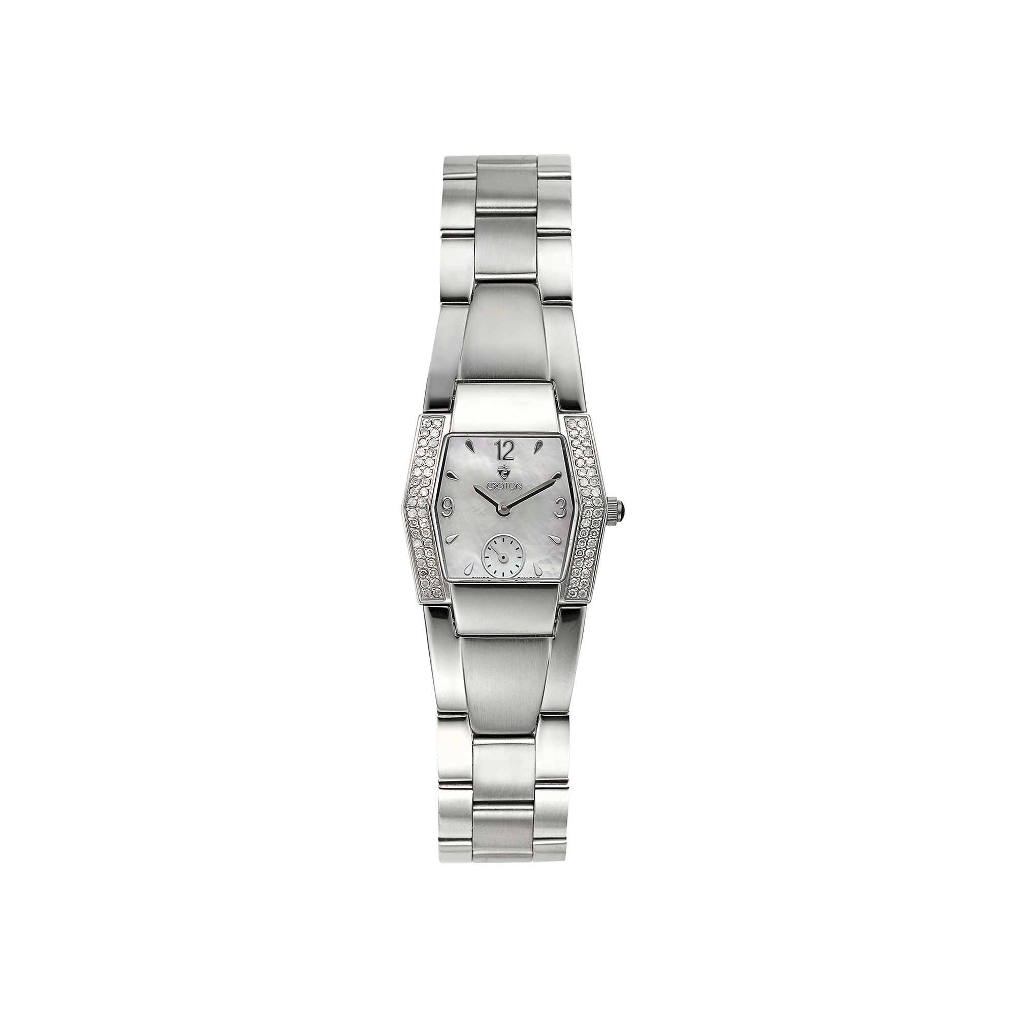 Croton Womens Diamond-Accent Stainless Steel Bracelet Watch