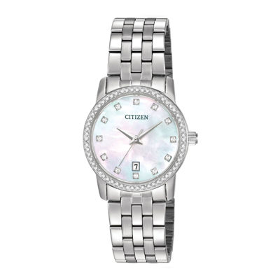 Citizen® Womens Crystal-Accent Stainless Steel Bracelet Watch EU6030-56D