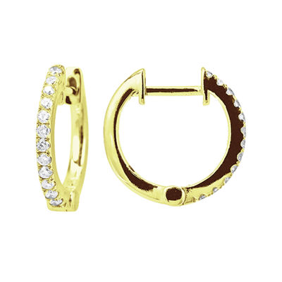 LIMITED QUANTITIES 1/7 CT. T.W. Diamond 14K Yellow Gold Hoop Earrings