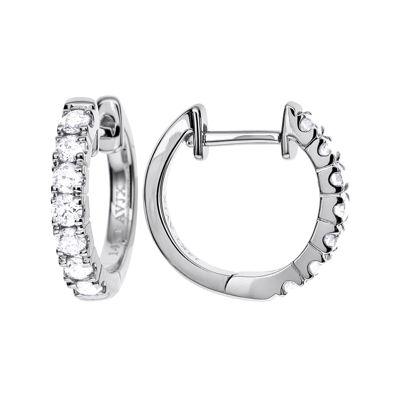 LIMITED QUANTITIES 1/2 CT. T.W. Diamond 14K White Gold Hoop Earrings