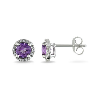 Lab-Created Alexandrite and Diamond-Accent 10K White Gold Stud Earrings