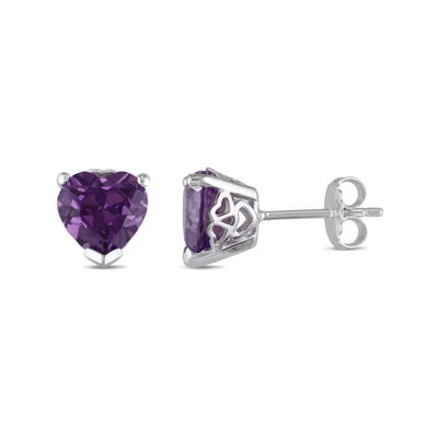 Lab-Created Alexandrite Sterling Silver Heart-Shaped Earrings