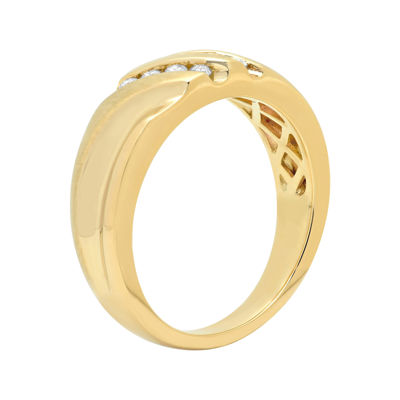 Mens 1/4 CT. T.W. Diamond 10K Yellow Gold Slant Wedding Band