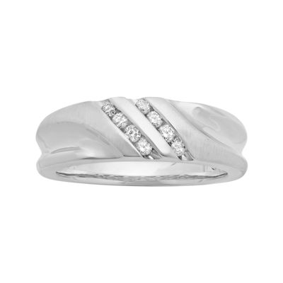 Mens 1/4 CT. T.W. Diamond 10K White Gold Slant Wedding Band