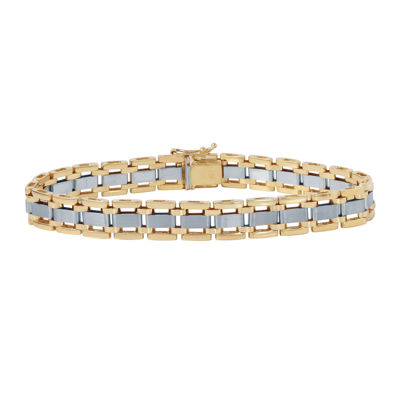 Mens 10K Two-Tone Gold Link Bracelet