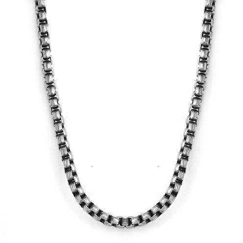 """Mens Gray Stainless Steel 22"""" 5.5mm Rolo Chain"""