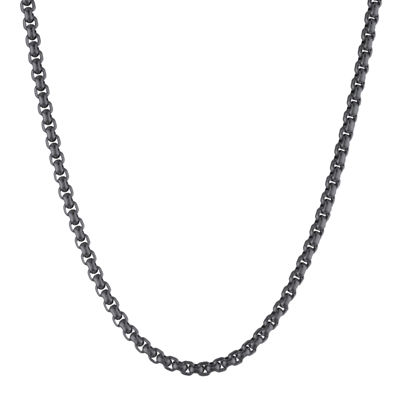 "Mens Stainless Steel and Black IP 24"" 3.5mm Round Box Chain"