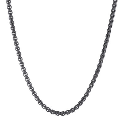 "Mens Stainless Steel and Black IP 30"" 3.5mm Round Box Chain"