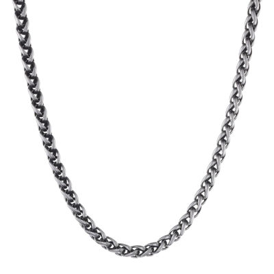 """Mens Antiqued Stainless Steel 18"""" 3mm Wheat Chain"""