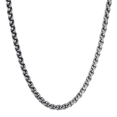 "Mens Antiqued Stainless Steel 24"" 3mm Wheat Chain"