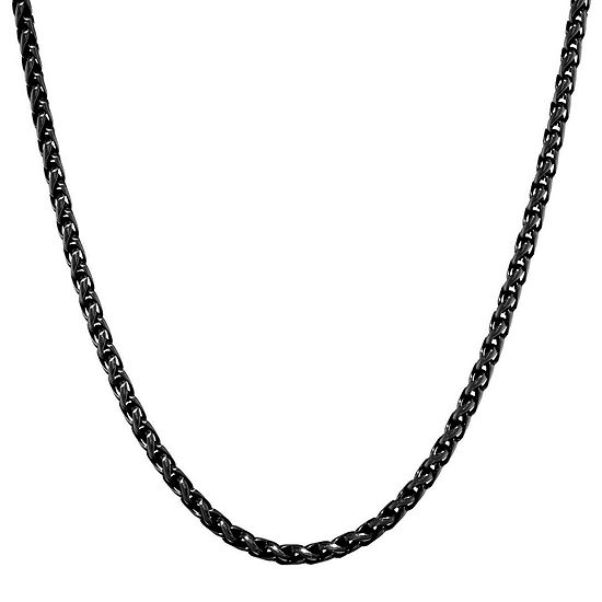 "Mens Stainless Steel and Black IP 18"" 3mm Wheat Chain"