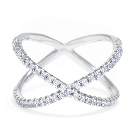 Silver Treasures Silver Treasures Womens 3MM White Cubic Zirconia Sterling Silver Crossover Band