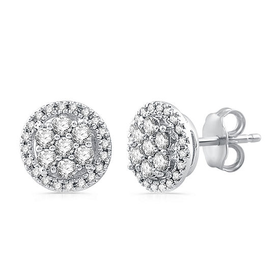 Diamond Blossom 1/2 CT. T.W. Genuine White Diamond 10K Gold Stud Earrings